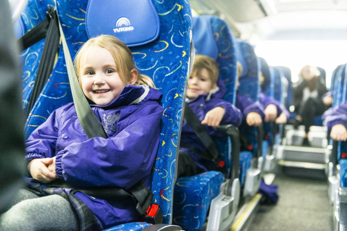 wycliffe nursery kids in a minibus
