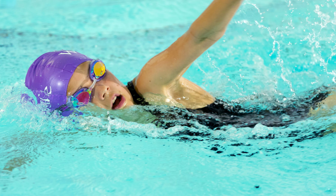 wycliffe pupil swimming in a pool