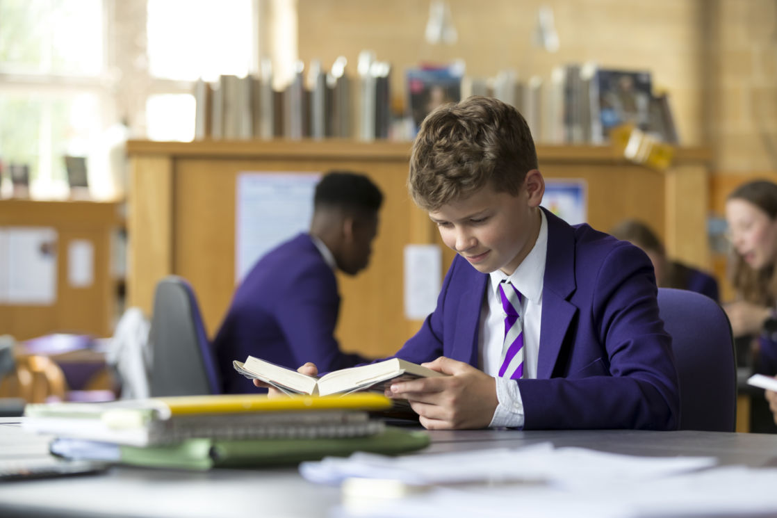 wycliffe pupil studying in the library