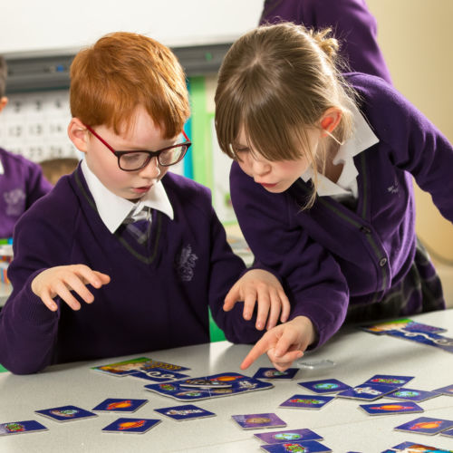 wycliffe nursery pupils playing with cards in class