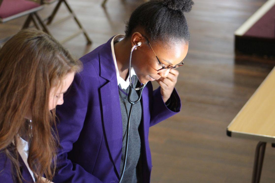 wycliffe senior students using stethoscopes