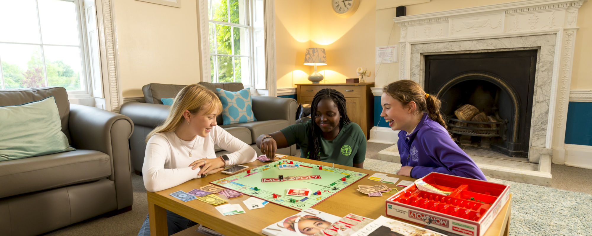wycliffe international students playing monopoly