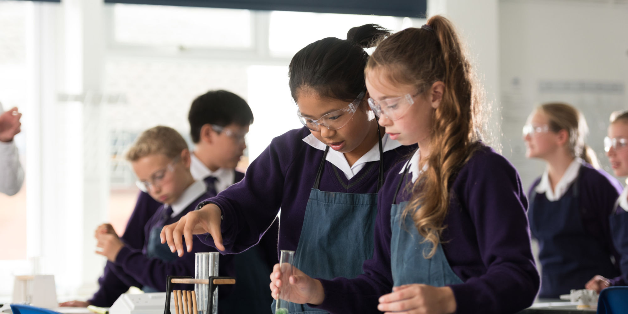 wycliffe girls doing experiments in class