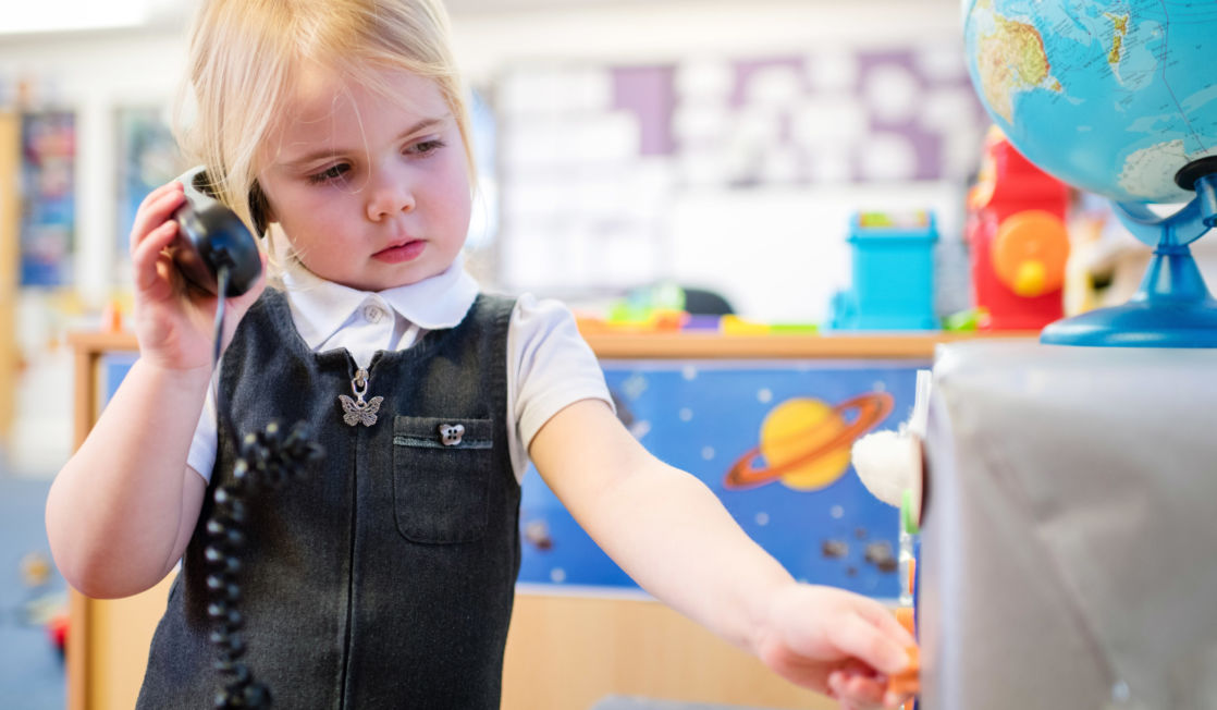 wycliffe nursery pupil playing in the classroom