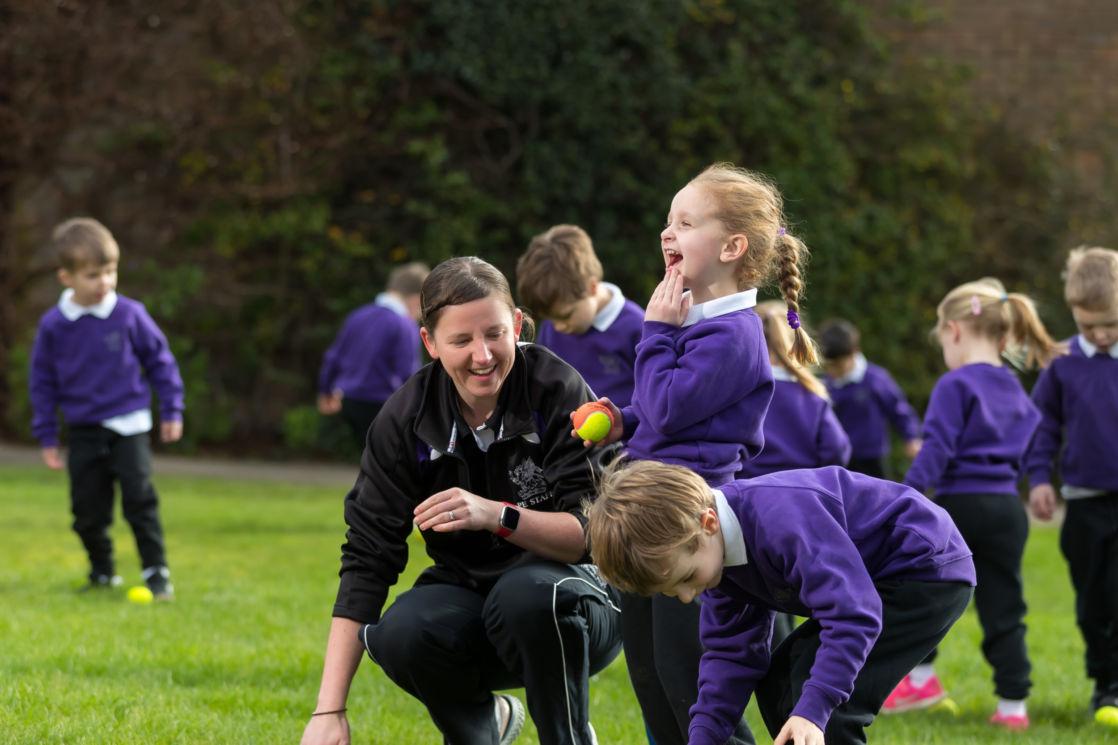 wycliffe kids and teacher doing sports activities
