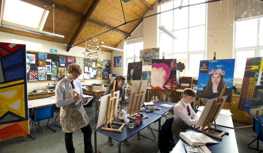 wycliffe senior pupils painting in art class