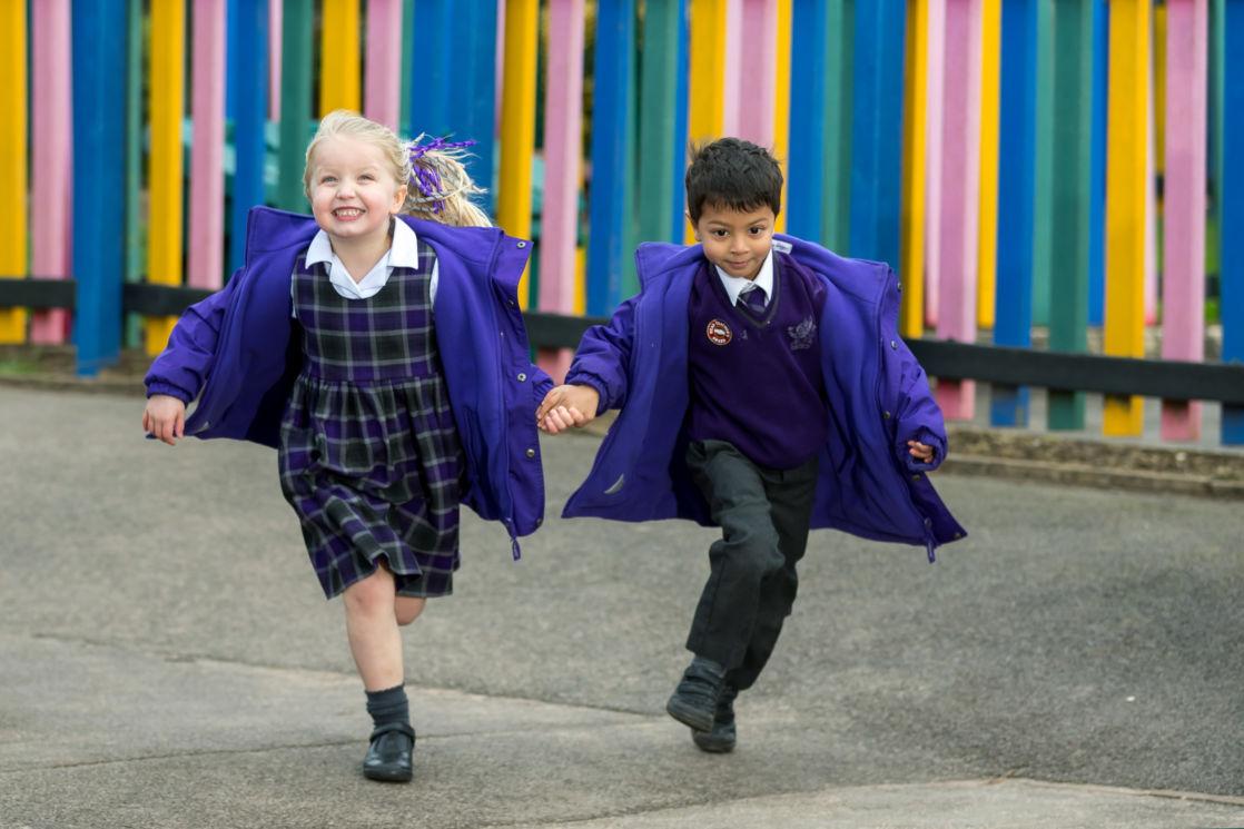 wycliffe nursery pupils running in the playground