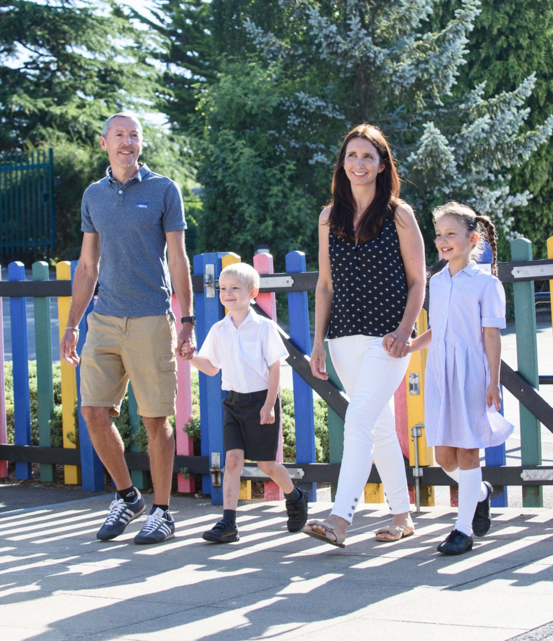 wycliffe pupils walking with their parents in the playground