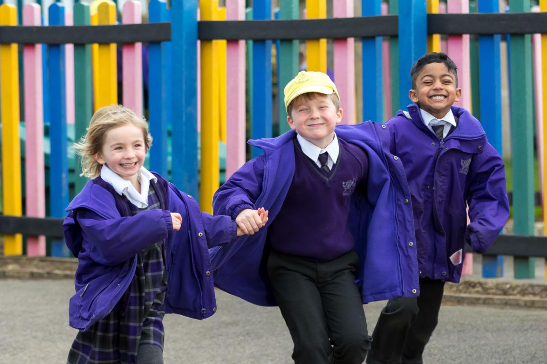 wycliffe nursery kids running in the playground