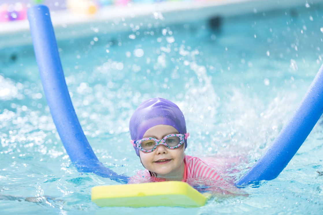 wycliffe nursery pupil swimming in a pool