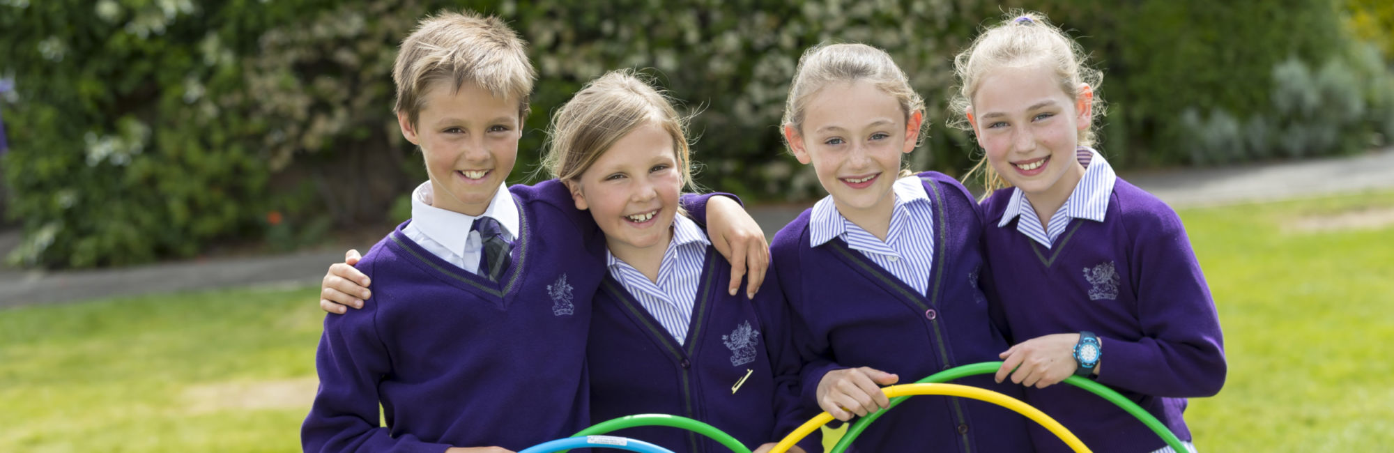 wycliffe prep students posing with hula hoops