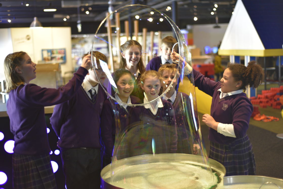 wycliffe pupils playing with bubbles
