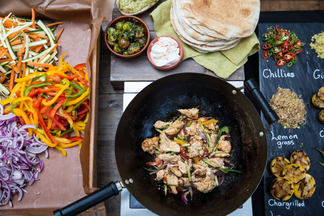 frying pan with salted chicken and vegetables
