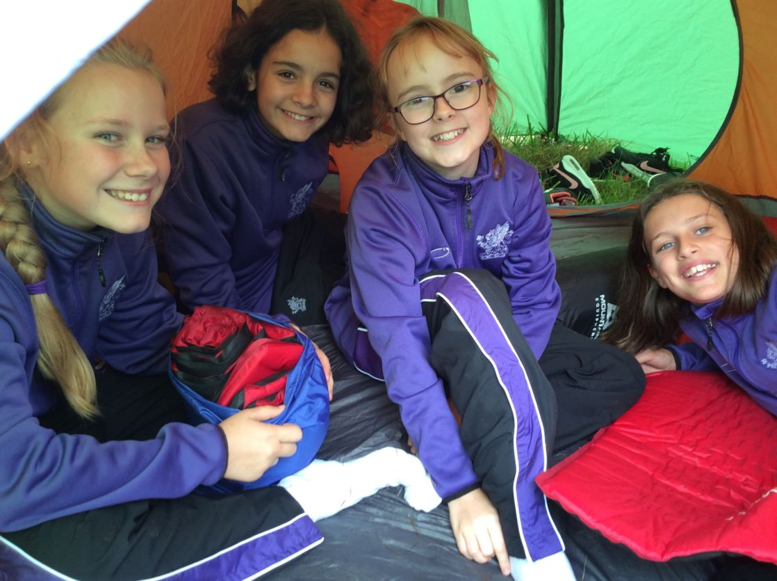wycliffe girls camping outside