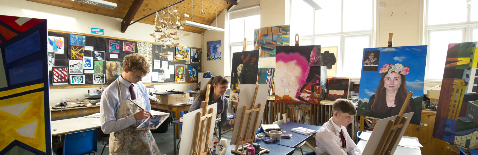 wycliffe pupils painting in art class