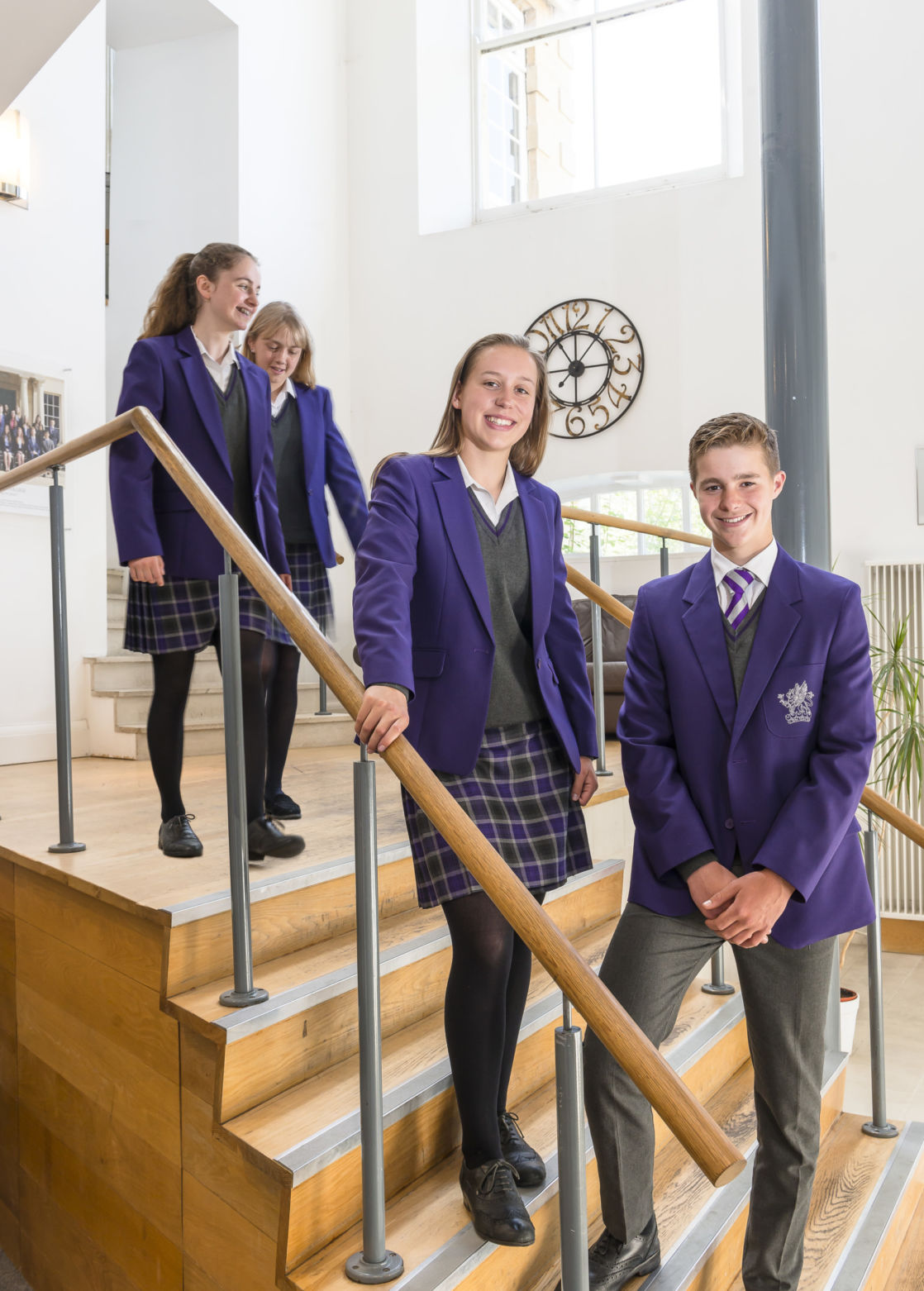 wycliffe senior students posing in a staircase
