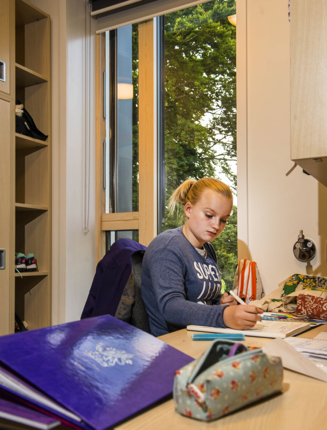 wycliffe senior pupil studying in her room