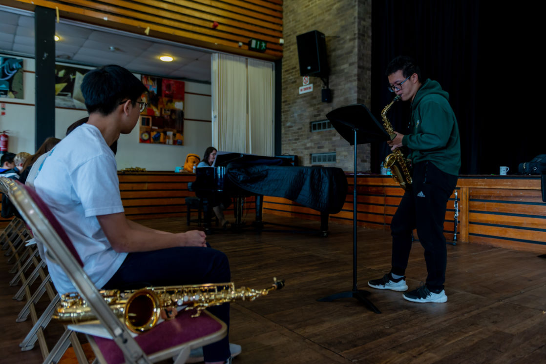 wycliffe pupils playing the saxophone