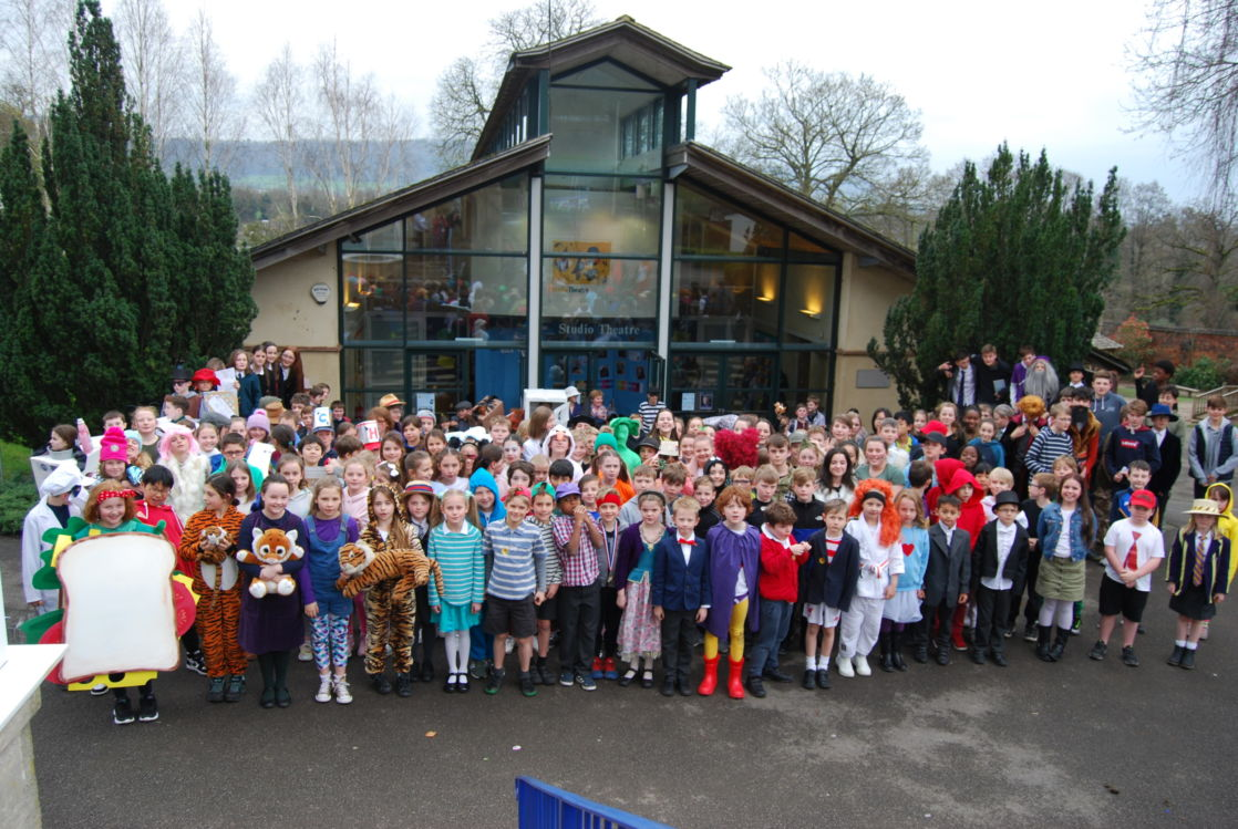 wycliffe pupils outdoors wearing costumes
