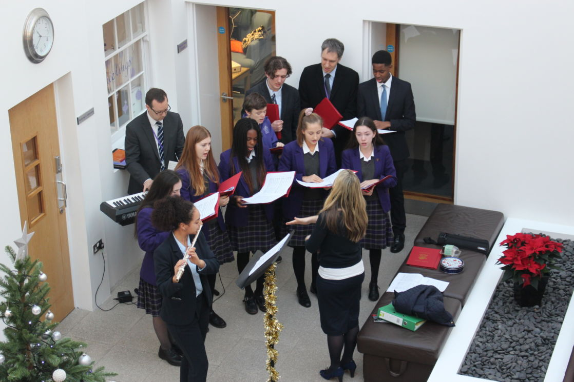 wycliffe students rehearsing christmas music