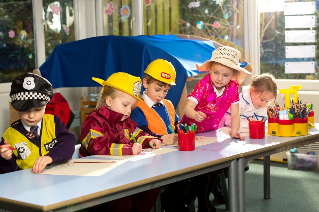 children playing in wycliffe nursery class gloucestershire