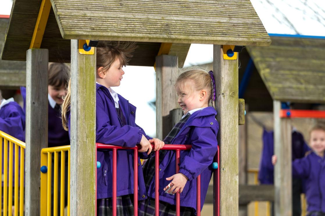 year 2 wycliffe girls playing outside