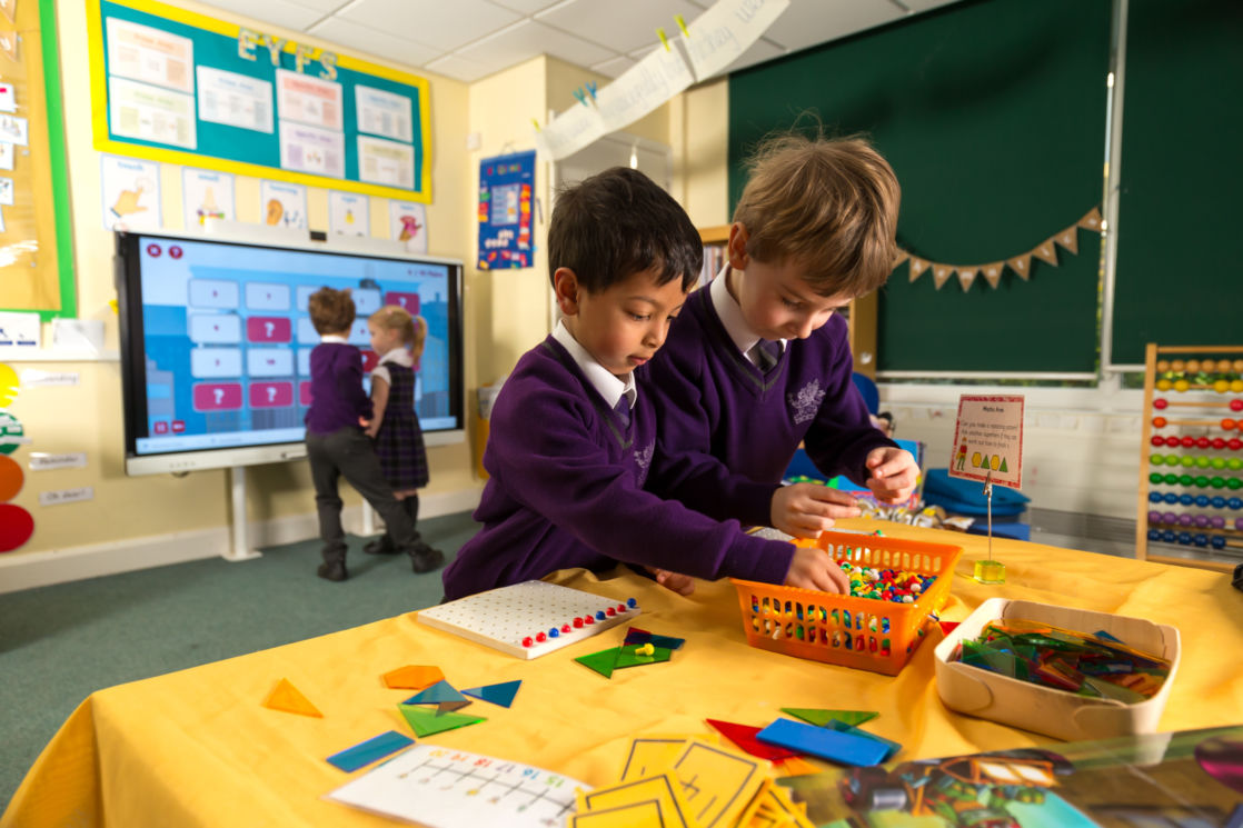 wycliffe nursery boys playing in class
