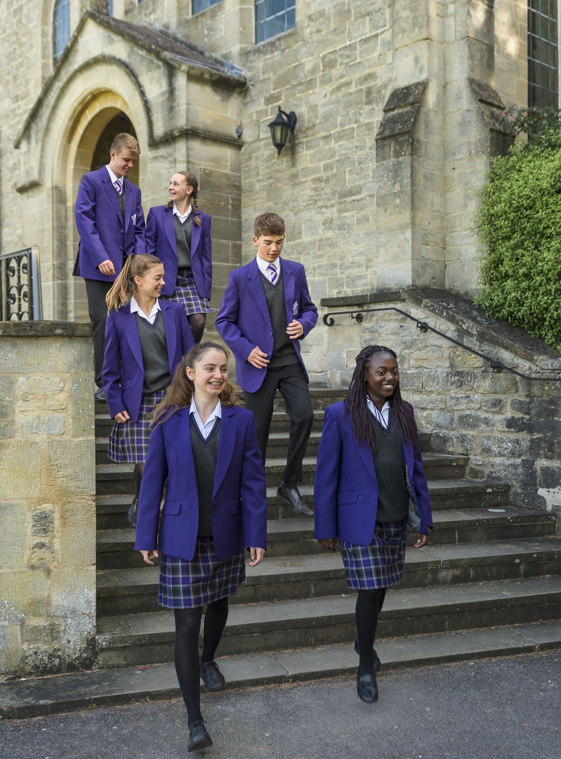 wycliffe pupils walking down stairs