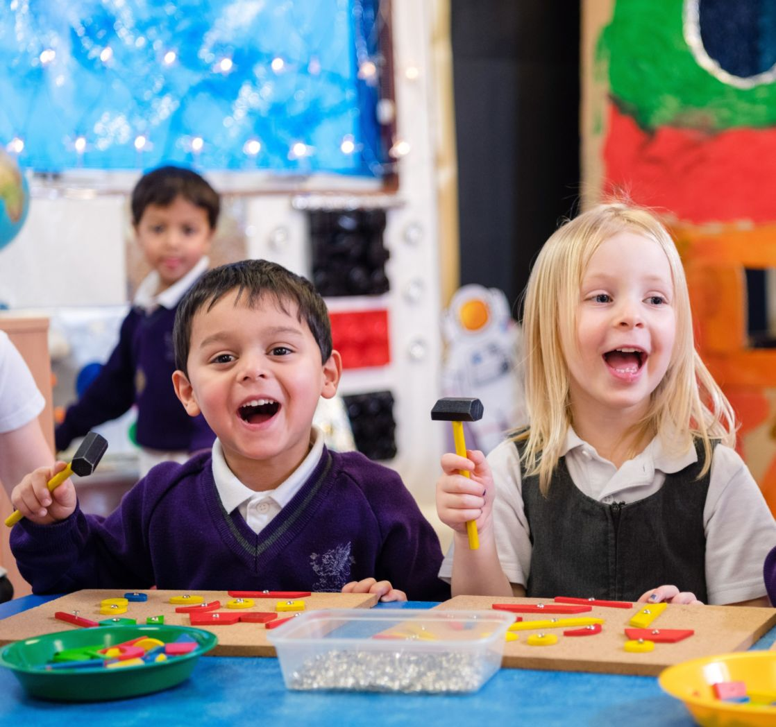 children at wycliffe nursery class in gloucestershire