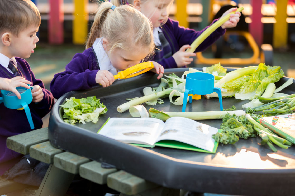 wycliffe nursery children using magnifying class with food