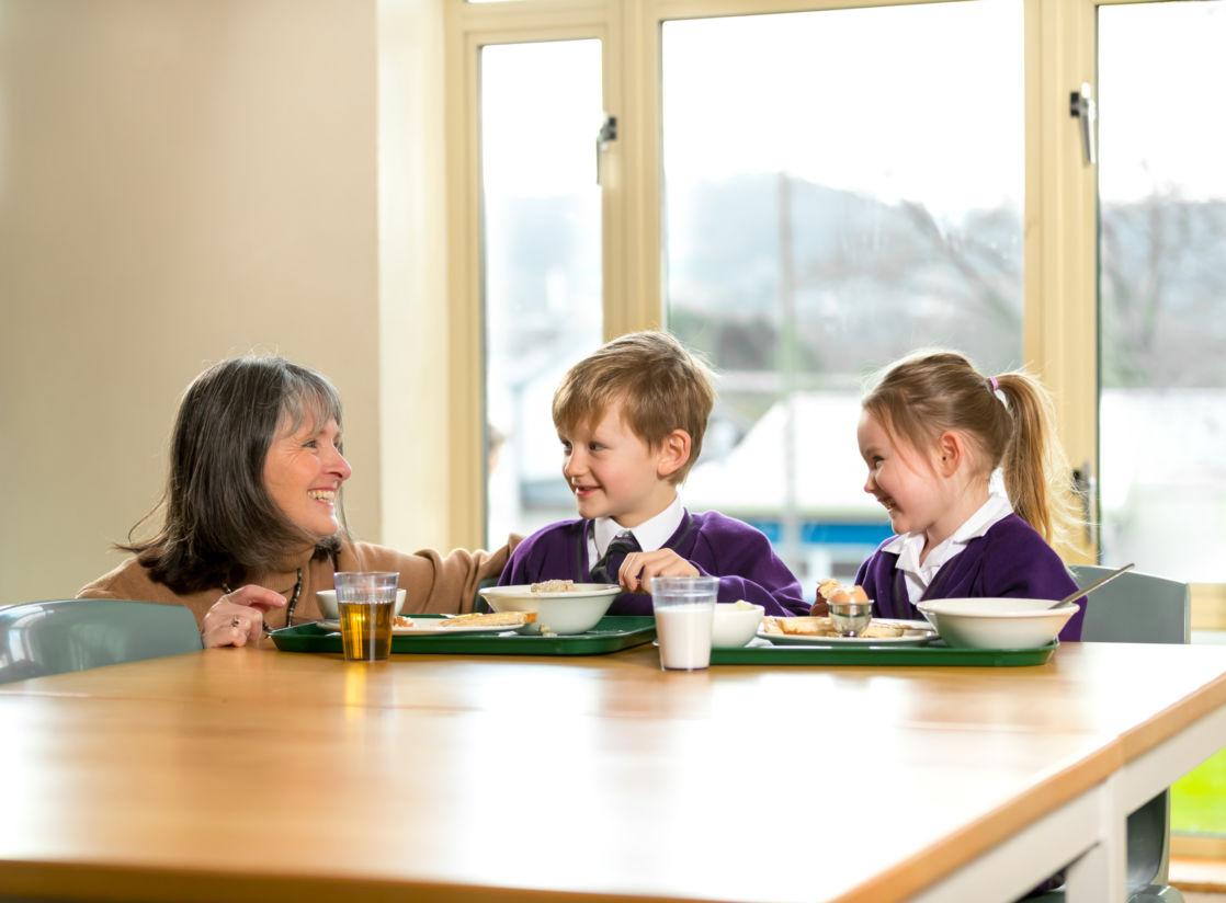 wycliffe nursery kids and teacher having breakfast
