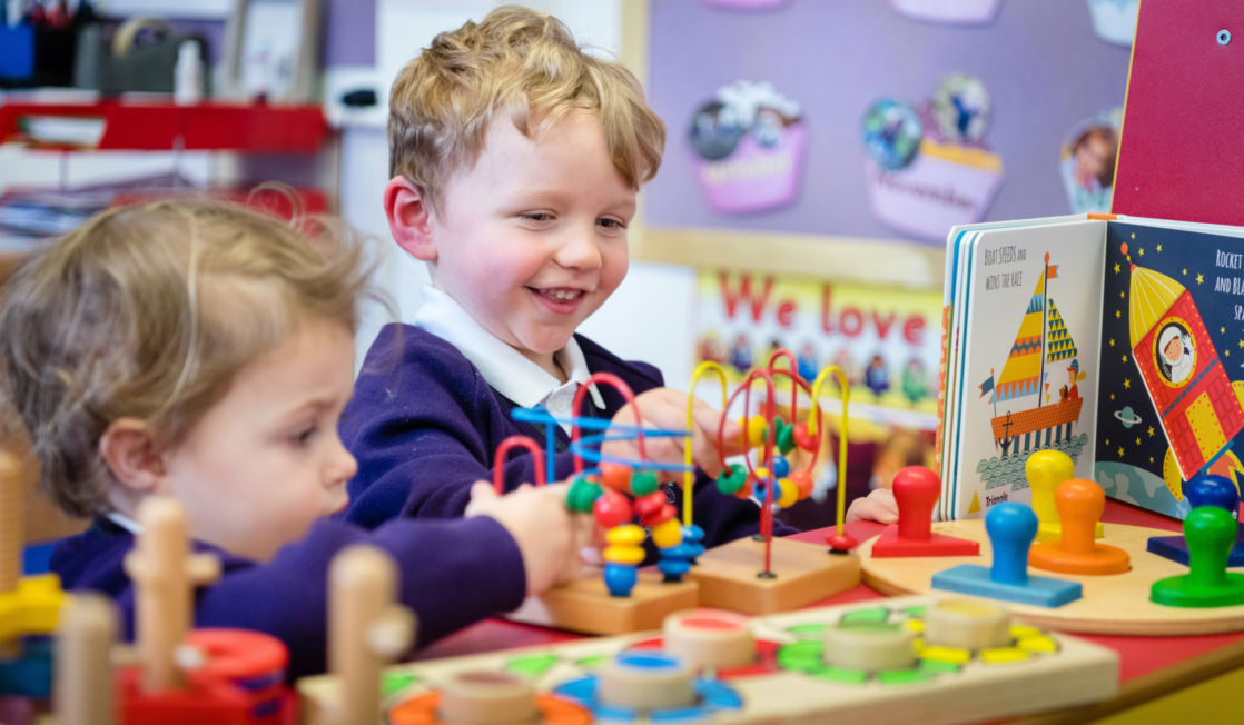 children playing in wycliffe nursery class