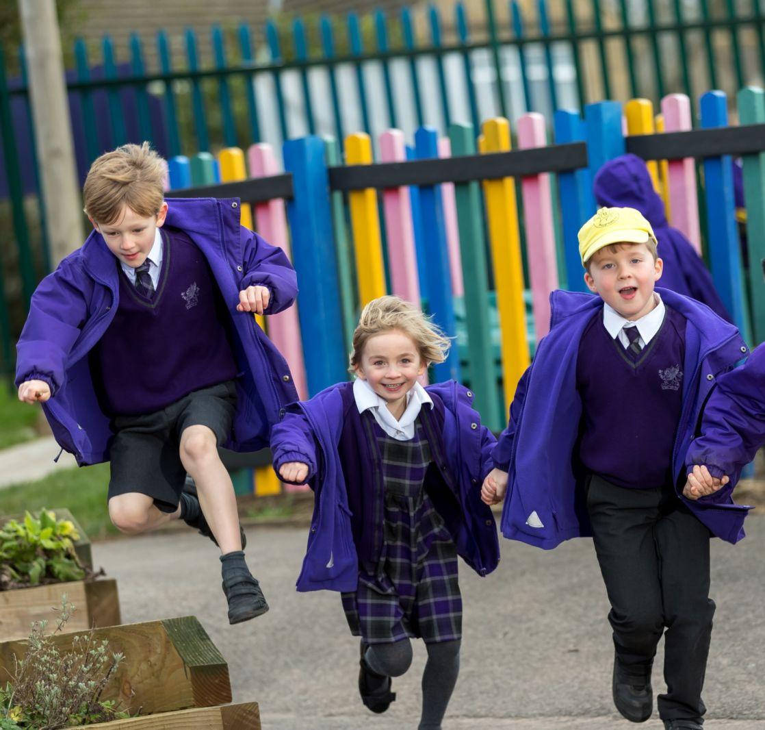 wycliffe nursery pupils running outdoors