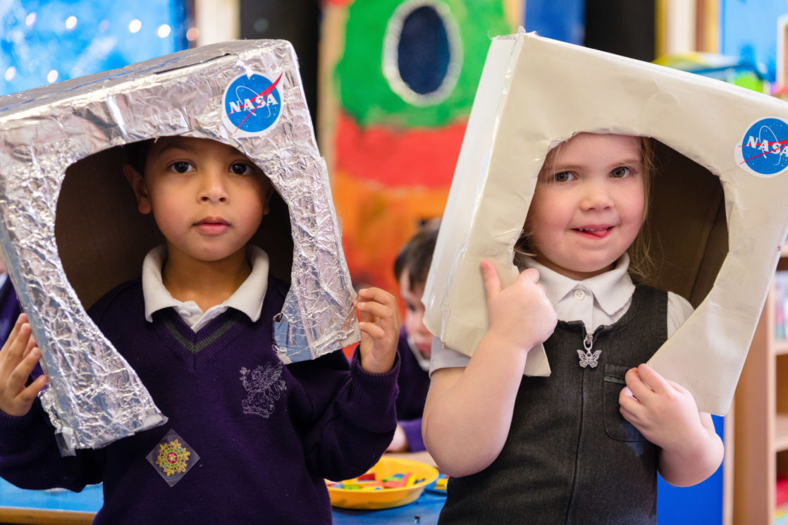 children playing in nursery class