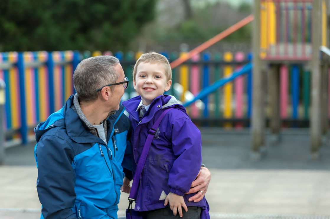 wycliffe boy and parent in the playground
