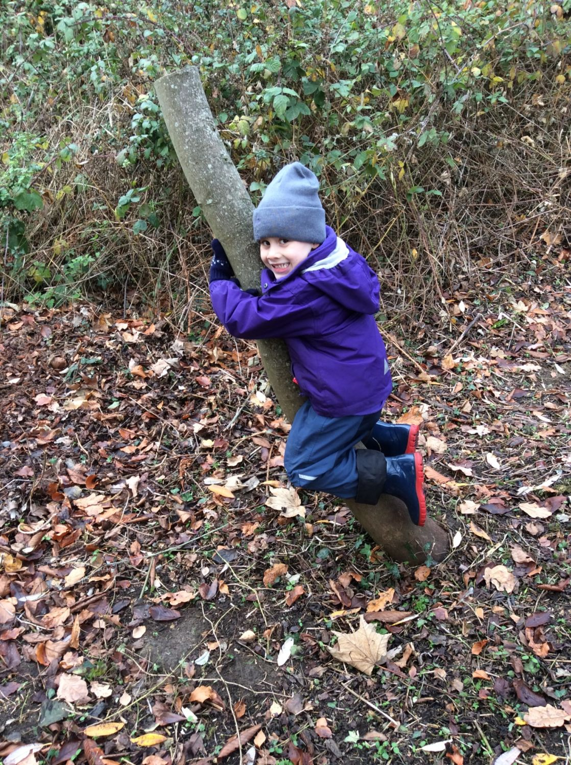 wycliffe boy hugging a tree