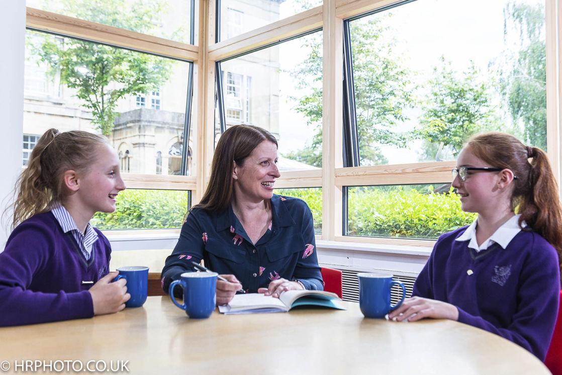 wycliffe girls and teacher drinking tea