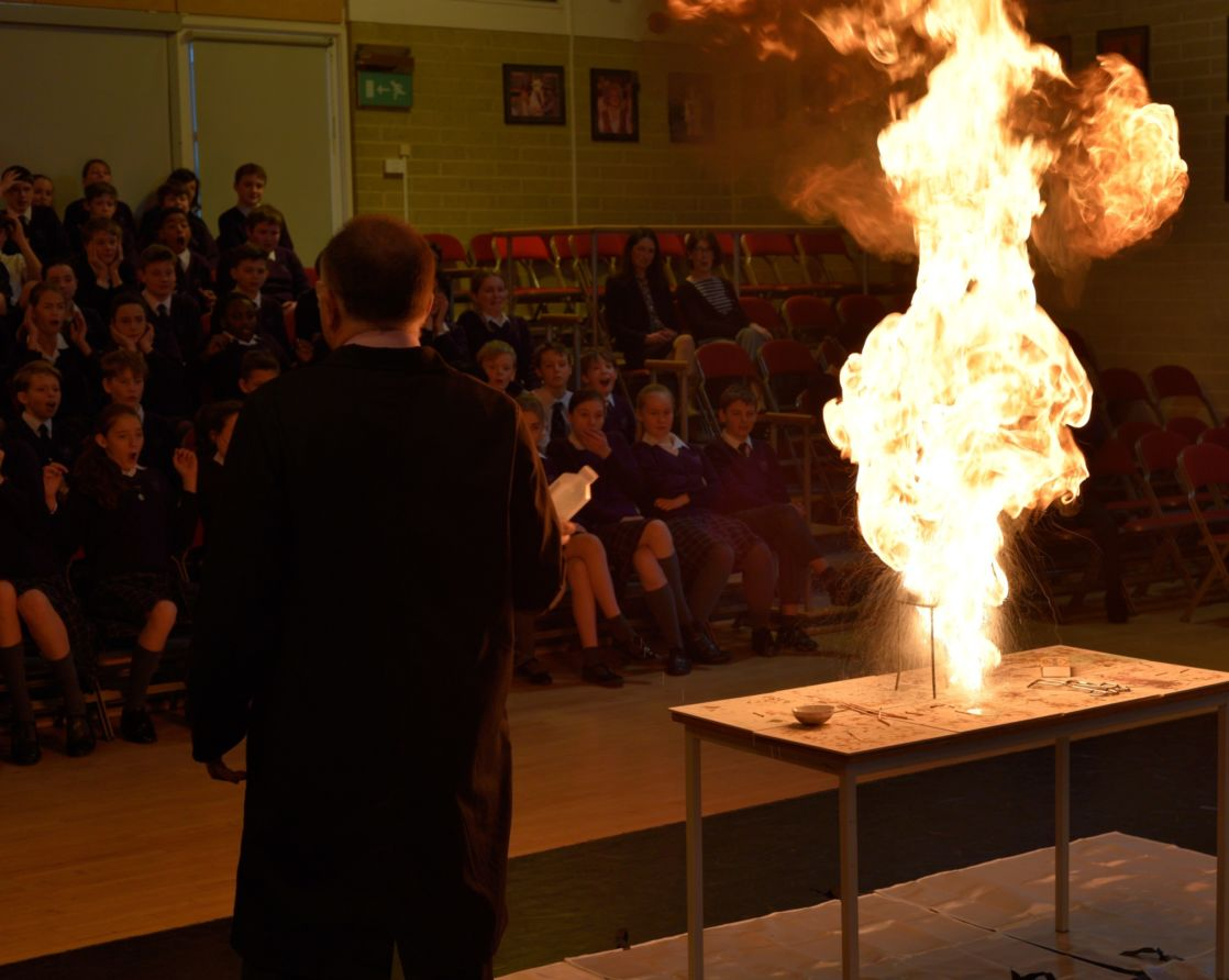 wycliffe students watching a fire demonstration