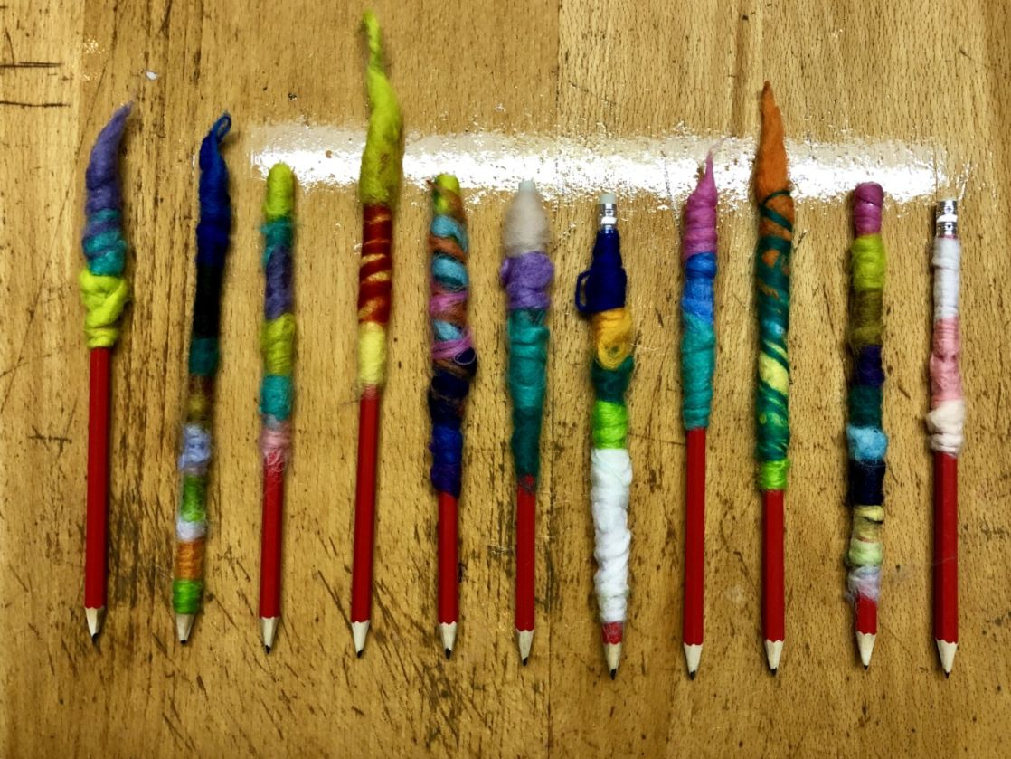 yarn-decorated pencils