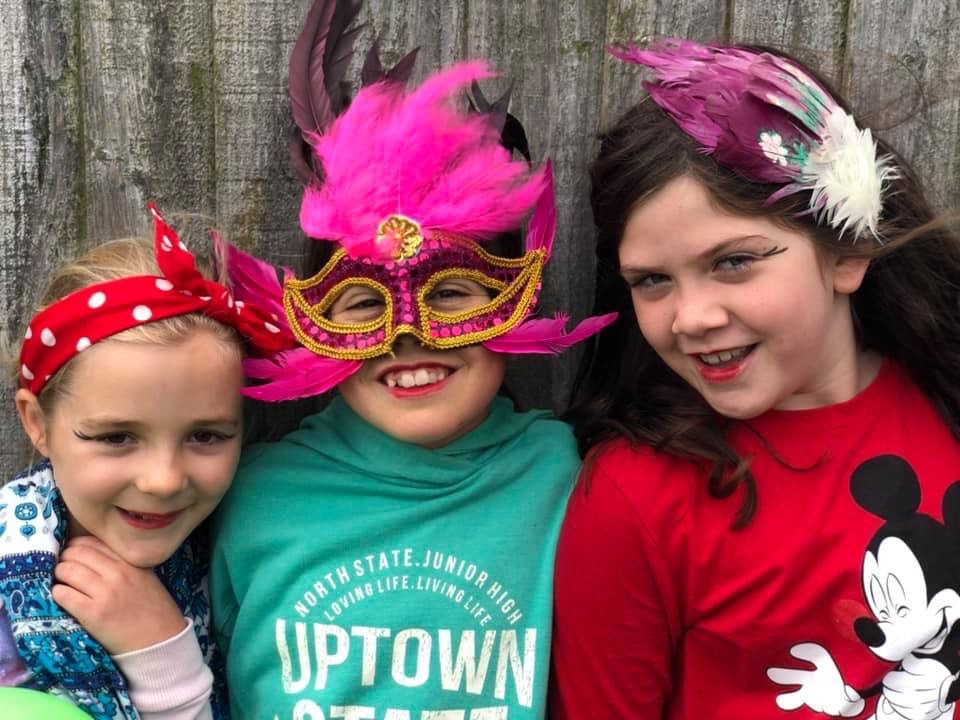 wycliffe girls wearing carnival cosutmes