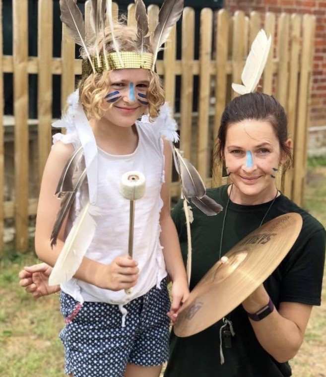 wycliffe student and teacher wearing costumes in Manor Farm