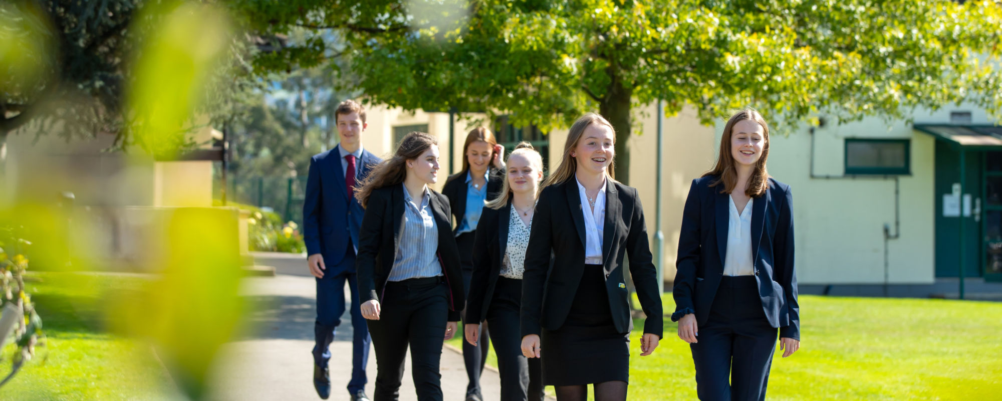A level students walking through Wycliffe College grounds