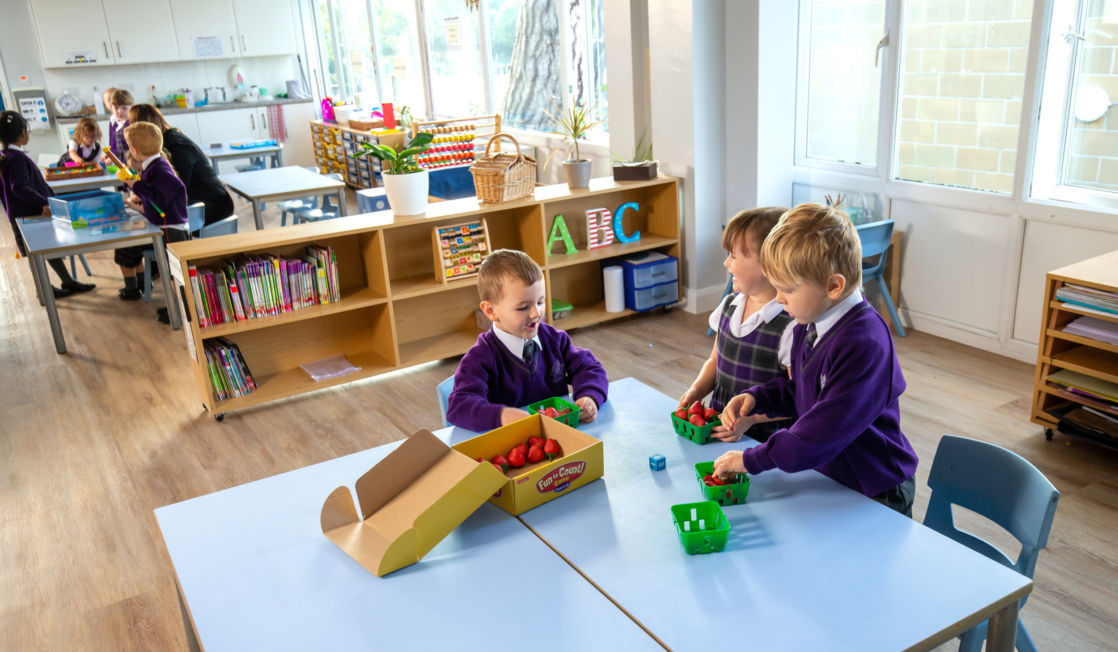 kids playing in wycliffe nursery class in gloucestershire