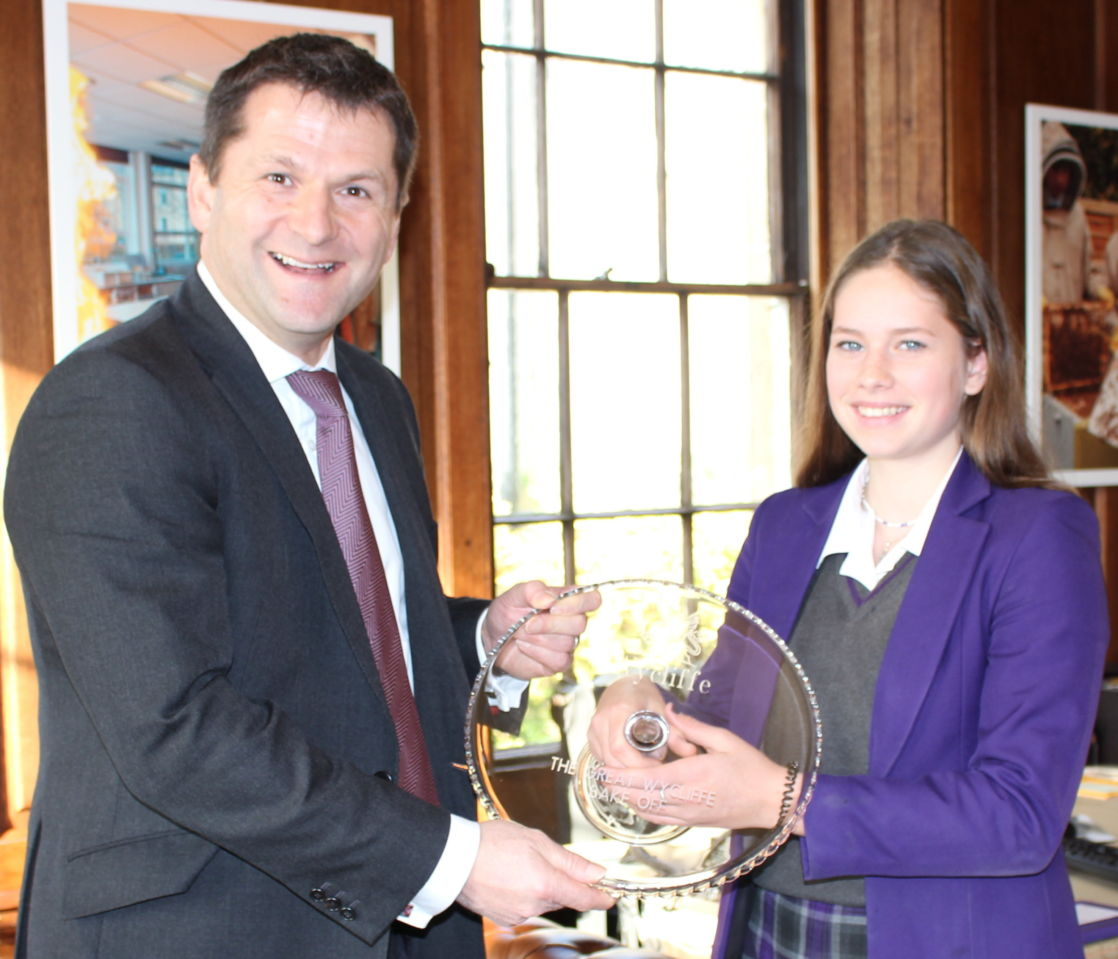wycliffe pupil with bake off winner