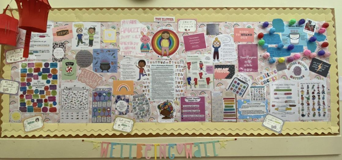 wellbeing wall at wycliffe