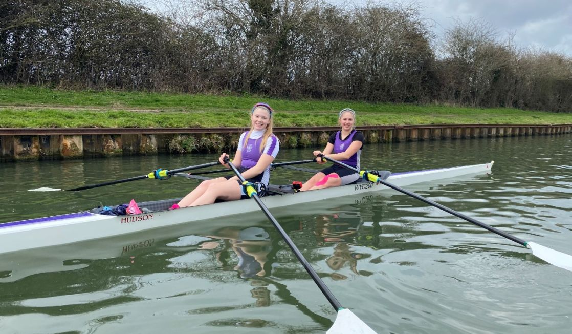 rachel and stella from wycliffe college competing in junior GB rowing trials