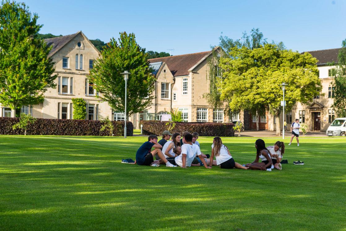 friends sitting outside at wycliffe school